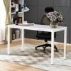 DlandHome Escritorios Mesa de Ordenador 120x60cm Escritorio de Oficina Mesa de Estudio Puesto de Trabajo Mesa de Despacho, Blanco