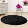 linyingdian 120 cm (4 pies) Alfombras Redondas Super Suave Sala de Estar Dormitorio Casa Alfombra Peluda (Negro)