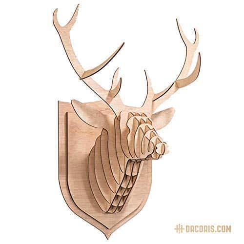 Dacoris Lars, el Ciervo | Madera | Cabeza de Ciervo | DIY Modelo 3D | Cabeza de Animal | Animal Decorativo | Cabezas Animales Decoración | Animales de Madera | Diseño y Decoración de Pared (M)