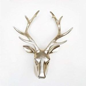 WALPLUS 35x 18,5x 43cm Percha de Pared Cabeza de Ciervo Animales Art Decals decoración del hogar salón Dormitorio decoración DIY, Color Dorado