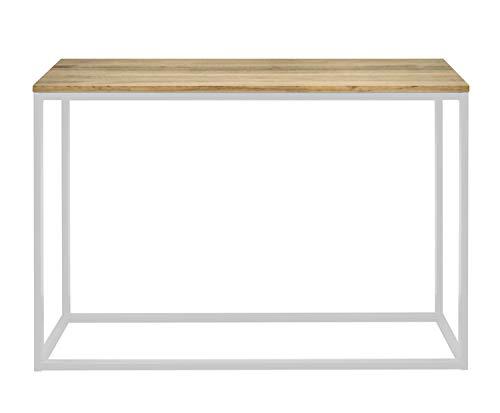 Mesa Recibidor iCub, Dimensiones 70 x 35 x 80 cm, Color Blanco, Diseño Industrial Vintage, Consola de recibidor fabricada en madera de pino maciza alistonada con estructura de tubo de acero