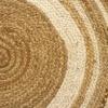 HAMID Alfombra Yute Alhambra Color Natural Greca Blanca Redonda – Alfombra 100% Fibra de Yute (100x100cm)