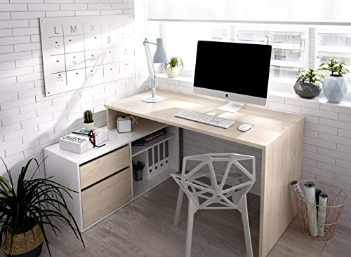 Hogar24 Es Escritorio Modelo ROX, Mesa Despacho Reversible, Color Madera Natural y Blanco Brillo, 139 X 92 X 75