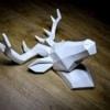 Hansmeier Cabeza de Ciervo Escultura de la Pared Decoración Mural Cabeza de Animal Diseño Apstracto y Moderno – Blanco