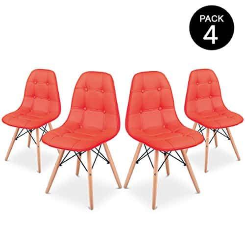 Mc Haus Sena Button Pack 4 Sillas Comedor, Rojo, 66 x 64 x 53 cm