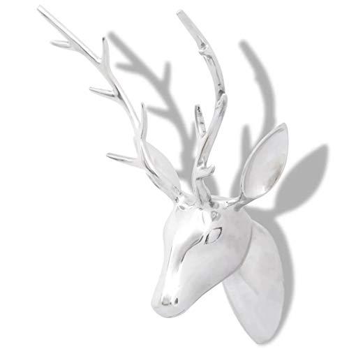 vidaXL Cabeza de Ciervo Decorativa Pared Aluminio Plateada 61 cm Animal Adorno