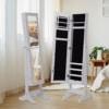 2 en 1 Espejo de Pie y Joyero Organizador para Dormitorio o vestidor – con Soporte de Suelo – Madera – Color Blanco – 34x37x144cm